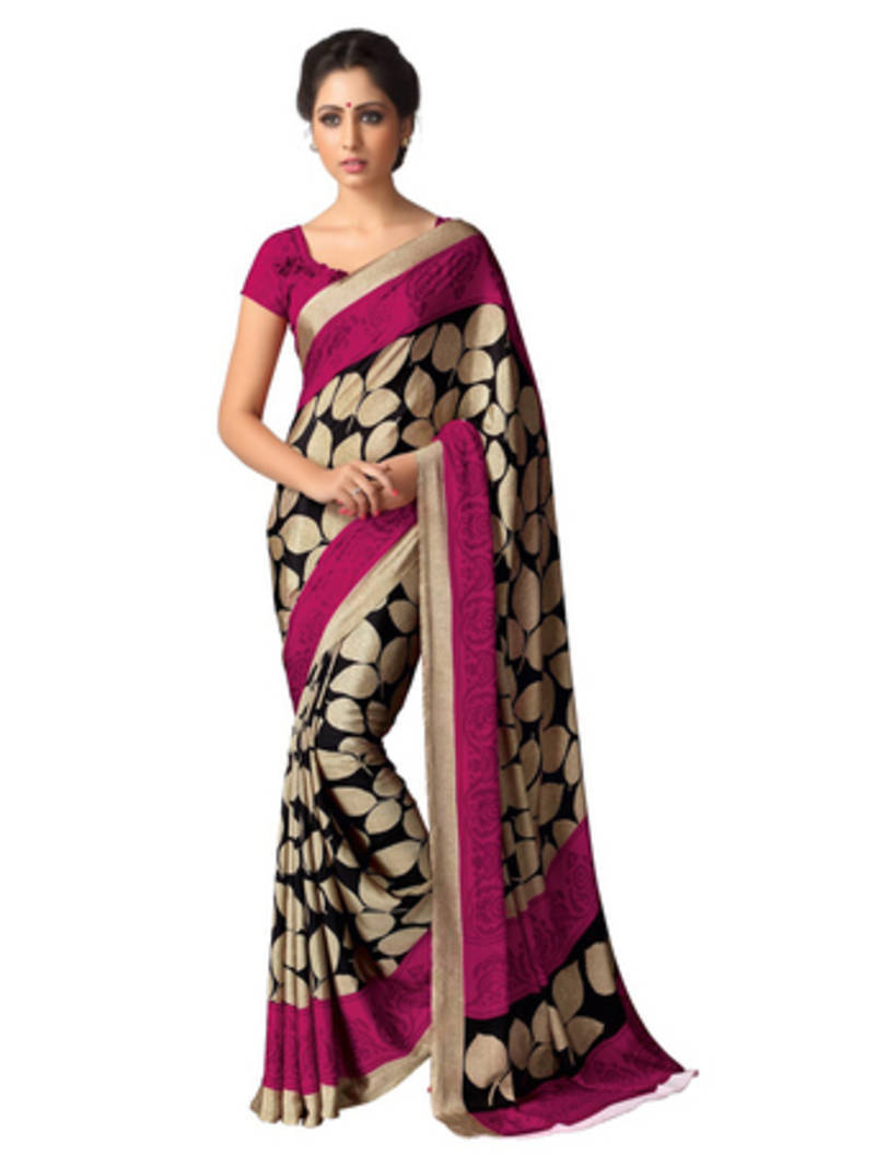 af2bc546ec Beige and Pink printed crape saree with blouse - A G Lifestyle - 487658