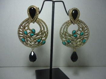 classic Black and Turquoise Danglers with drops