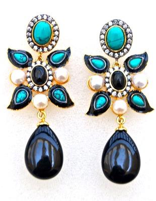 Turquoise Onyx Earrings
