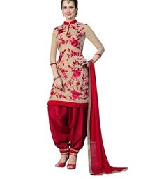 Buy maroon cotton embroidered semi stitched salwar with dupatta cotton-salwar-kameez online