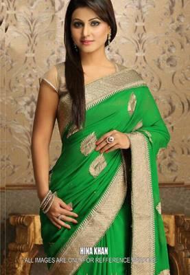 Hina Khan Green Bollywood Replica Saree
