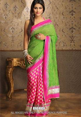 Hina Khan Pink & Green Bollywood Replica Saree