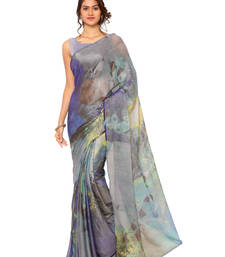 Buy grey printed brasso saree With Blouse brasso-saree online