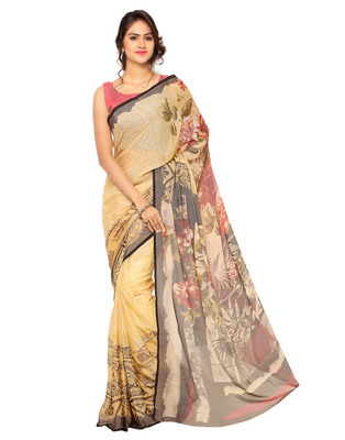 beige printed brasso saree With Blouse