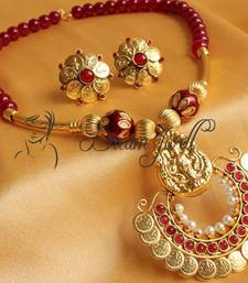 GORGEOUS MAROON RAM LEELA PENDANT NECKLACE SET DJ04355