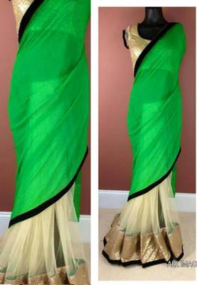 Designer Wear Green Saree
