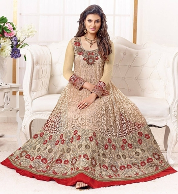 Gold georgette embroidered semi stitched salwar with dupatta