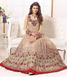Buy Gold georgette embroidered semi stitched salwar with dupatta anarkali-salwar-kameez online