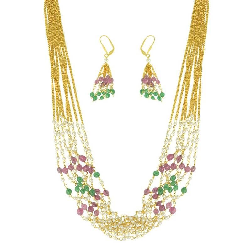 Kanjivaram Beads: Ethnic Indian Bollywood Fashion Jewelry Set Pearl Bead
