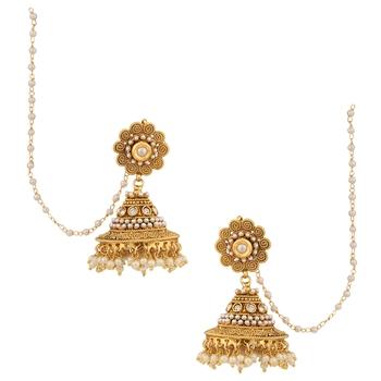 Jhumka Pearl Polki Flower Jhumki South Indian Style Earring Adiva 846838