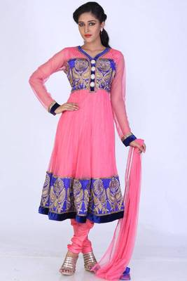 Brink Pink Net Embroidered Party and Festival Anarkali Kameez