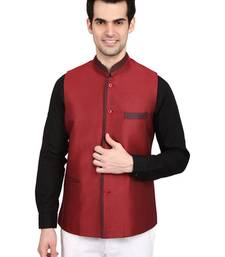 Buy Maroon plain blended jute nehru jacket nehru-jacket online