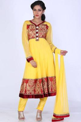 Maize Yellow Net Embroidered Party and Festival Anarkali Salwar Kameez