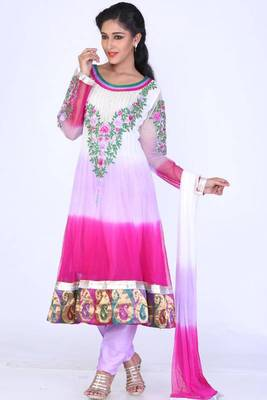 Off-white and Persian-rose Pink Net Embroidered Party Anarkali Salwar Kameez
