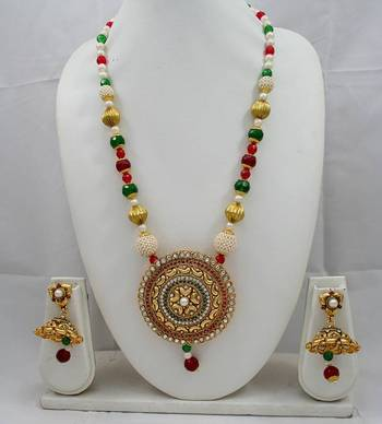 Designer Pendant Set with Ruby,Kundan,Pearl and Emerald