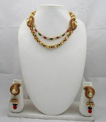 Designer Necklace Set With Kundan ,Ruby ,Pearl and Emerald