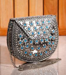 Buy Metal Flower Turq Sling Clutch eid-bag online