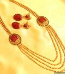 Buy Multicolour Gold Look Necklace Set south-indian-jewellery online