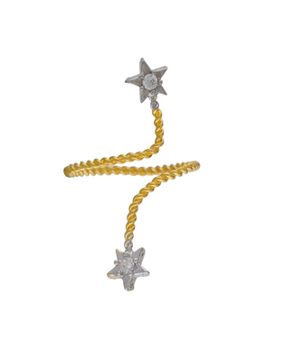 Affinity Jewellers Stylish Star Shaped Small American Diamond Nail Ring Gold Plated