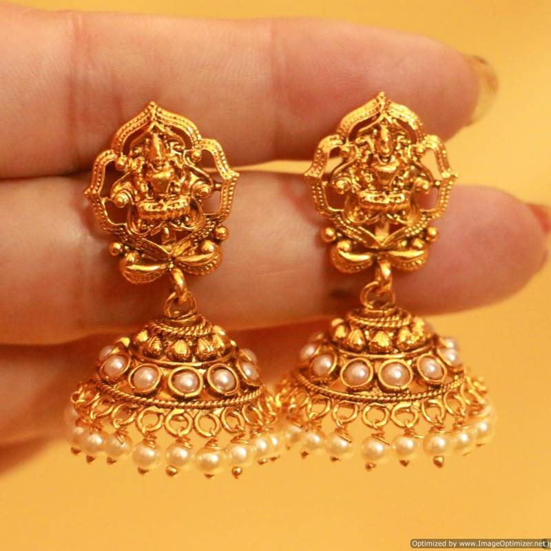 Buy Antique Gold Temple Jewellery Necklace Set Online