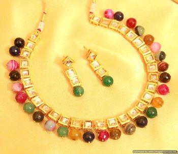 Multicolour Kundan Meenakari Necklace Sets