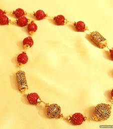 Red Onyx & Antique Carved Bead Necklace
