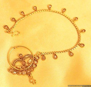 Antique Gold Look Zircon Bridal Nose Ring