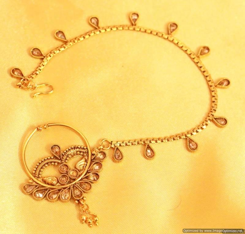 Antique Gold Look Zircon Bridal Nose Ring Sanvi Jewels Pvt Ltd