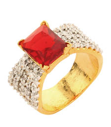 Buy Red Colour Square Shaped Finger Party Band Ring For Women Ring online