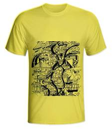 Buy Yellow Color Cotton Lycra Mumbai Mens T-shirt men-tshirt online