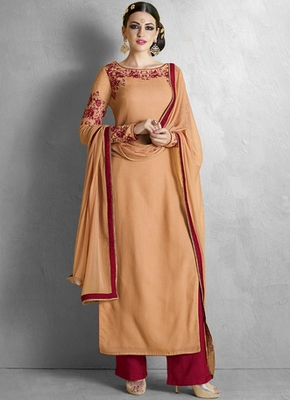 Orange Georgette Embroidered Semi Stitiched Salwar With Dupatta