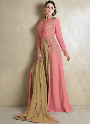 Baby Pink Georgette Embroidered Semi Stitiched Indo Western Dress