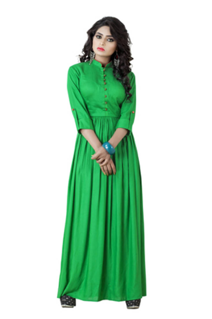 Buy pashimo womens green color reyon cotton western wear dress online