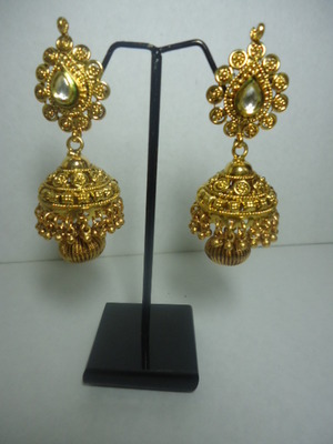 Dazzling Gold Temple jhumkas