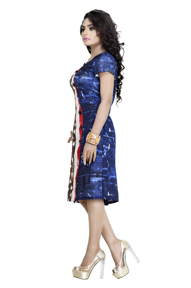 b889a28dc1 Buy Pashimo Womens Blue White N Red Color Cotton Western Wear Dress Online