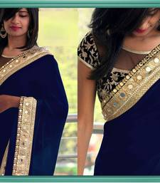 Buy NEW DESIGNER BLUE COLOR GEORGETTE SAREE EMBROIDERY LACE BORDER WITH BLOUSE SAREE SARI. wedding-saree online