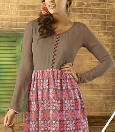 Buy Brown embroidered georgette stitched kurtis party-wear-kurti online