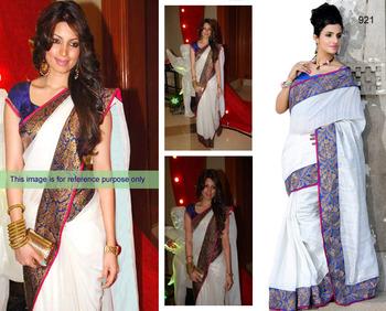 White bhagalpuri pure silk saree with unstitched blouse (bwd921)