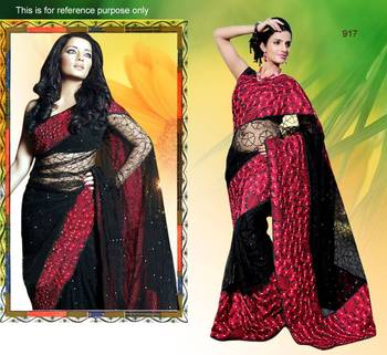 Black net saree with unstitched blouse (bwd917)