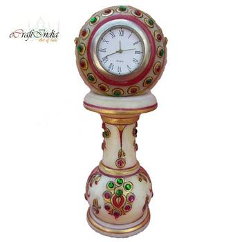 eCraftIndia Colorful stone studded Marble Pillar Clock