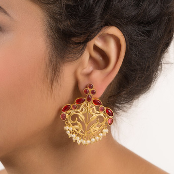 Gold Plated Designer Earring With Stones