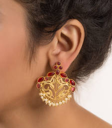 Buy gold plated designer earring with stones danglers-drop online