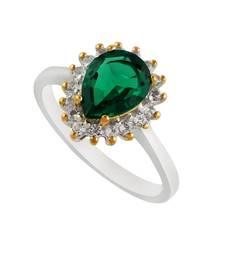 Precious Sterling Silver Emerald & Topaz Ring