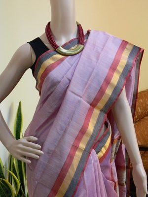 Pink Maheshwari Handloom Saree