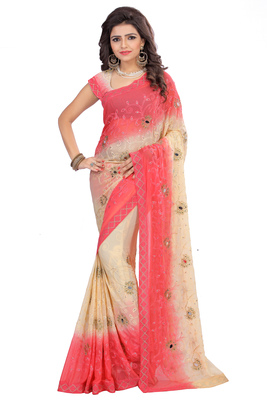 Designer, Embroidered, Nazneen Red and Beige double color saree with unstitched blouse piece