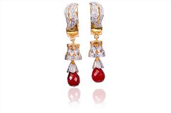 Jaipuri Red AD Earrings