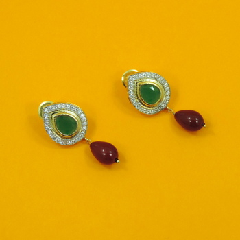 Glittering  Green-Silver with Red Drop AD Earrings
