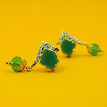 Green Diamond Shaped AD Earrings