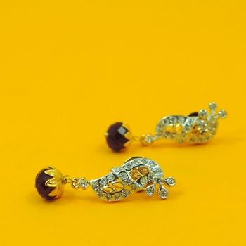 Simple Jaipuri Red AD Earrings