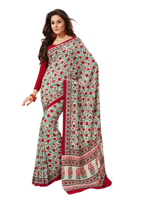 Fabdeal Off White Colored Crepe Printed Saree